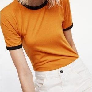 Women's Zara Mustard/Black T-Shirt Bodysuit Size L